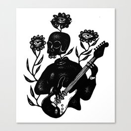 Skeleton Lady Plays the Blues Canvas Print
