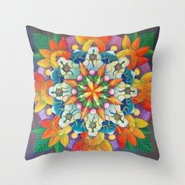"""Mandala ~ """"Changing Turtle Seasons"""" Throw Pillow"""