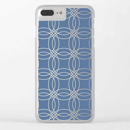 Simply Vintage Link in White Gold Sands and Aegean Blue Clear iPhone Case