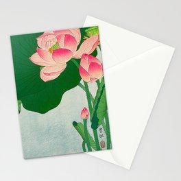 Ohara Koson Flowering Lotus 1930s Japanese Woodblock Print Vintage Historical Japanese Art Stationery Cards