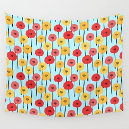 Bright Sunny Mod Poppy Flower Pattern Wall Tapestry