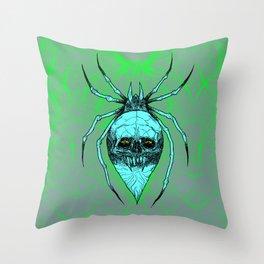 ALCOHOLICA SPIDER SKULL WEB 80's thrasher Throw Pillow