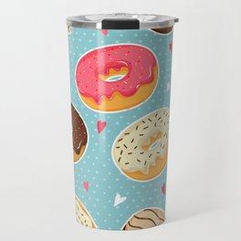 Donut - Doughnut - Bagel - Pattern - Polka Dot Travel Mug