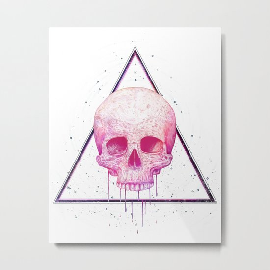 Skull in triangle Metal Print