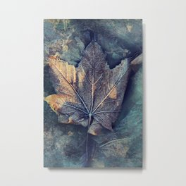 Frost Leave Metal Print