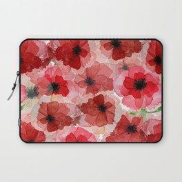 Pressed Poppy Blossom Pattern Laptop Sleeve