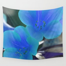 Blue Tint Rhododendron Flowers Wall Tapestry
