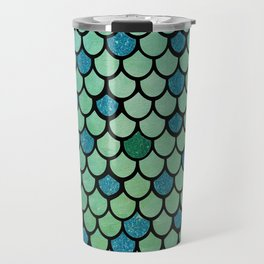Mermaid Scales Design With Glitter Accents Background Travel Mug