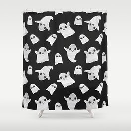 Black and White Hand Painted Kawaii Ghost Pattern Shower Curtain