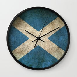 Old and Worn Distressed Vintage Flag of Scotland Wall Clock
