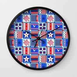 4th July Patchwork Wall Clock