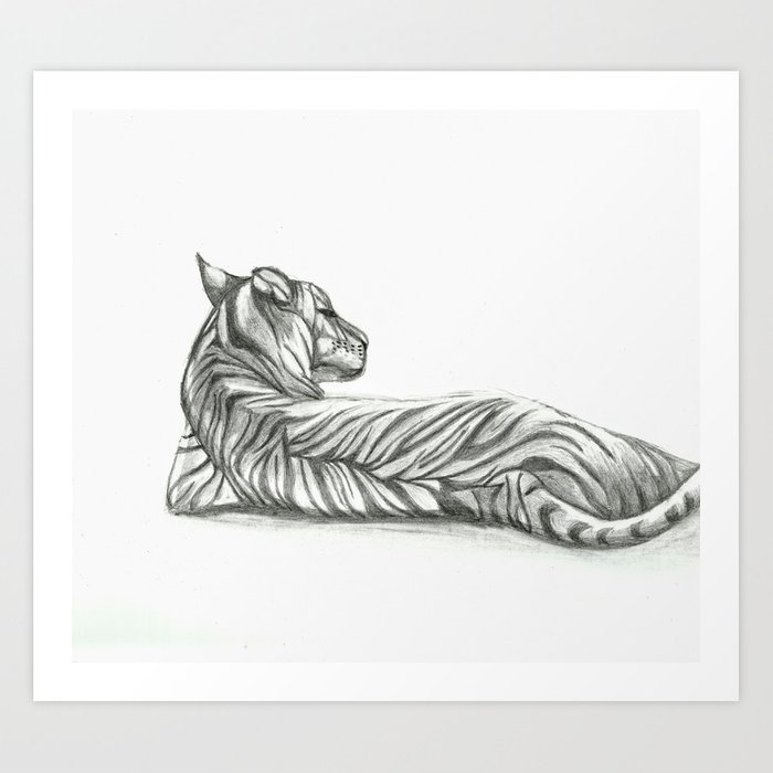 Relaxing Tiger Drawing Art Print by scarletwild