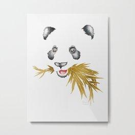 Panda Bear & Bamboo - Gold Bamboo Metal Print