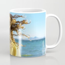 Young bonde woman shakes her curly hair at the beach Coffee Mug