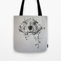 animal skull Tote Bags featuring Animal Skull With Vines by Emilee's Fine Art