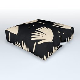 Leaves in black and ivory Outdoor Floor Cushion