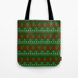 Knitted Christmas pattern red green 3 Tote Bag