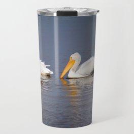 Four White Pelicans Travel Mug