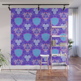 Abstract Pattern-Inspired by the Great Wave Off Kanagawa-Red/Purple/Blue Wall Mural