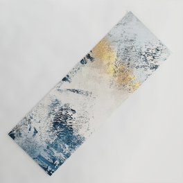 Sunset [1]: a bright, colorful abstract piece in blue, gold, and white by Alyssa Hamilton Art Yoga Mat
