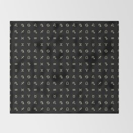 Zodiac Symbols - Black Throw Blanket