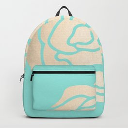 Rose in White Gold Sands on Tropical Sea Blue Backpack
