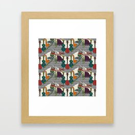 vintage ragtime chevron Framed Art Print