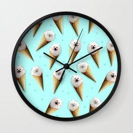 ice cream pomeranian Wall Clock