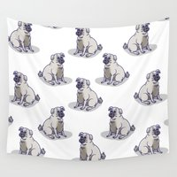 pugs Wall Tapestries featuring Pugs in a Rug by Eva Duplan Illustrations