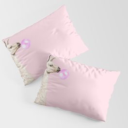 Playful Llama Chewing Bubble Gum in Pink Pillow Sham