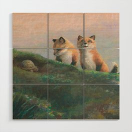 Red Fox Kits First Outing Wood Wall Art