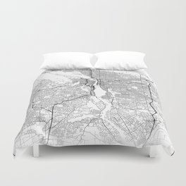 Minimal City Maps - Map Of Portland, Oregon, United States Duvet Cover