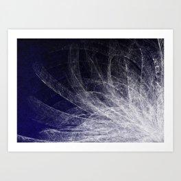 Cyan Texture Feathers Art Print