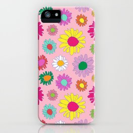 60's Daisy Crazy in Mod Pink iPhone Case