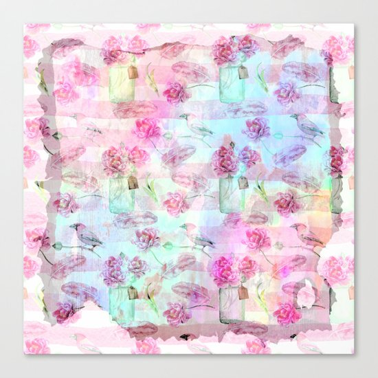 Summer pattern - Floral Flowers in pink on #Society6 Canvas Print
