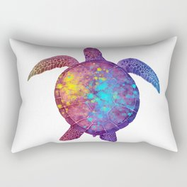Watercolor Sea Turtle - Colorful Rainbow Rectangular Pillow