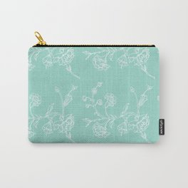 white flowers on blue background ( https://society6.com/totalflora/collection Carry-All Pouch