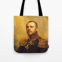 replaceface Tote Bags featuring Simon Pegg - replaceface by replaceface