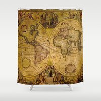 "vintage map Shower Curtains featuring VintaGe Map by ""CVogiatzi."