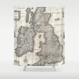 Vintage Map of England and Ireland (1631) Shower Curtain