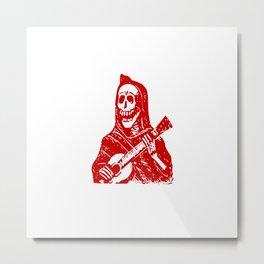 Skeleton With Guitar Metal Print