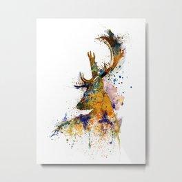 Deer Head Watercolor Silhouette Metal Print