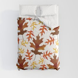 Rust, Brown, Red Orange Oak Leaf Repeated Textile Design 1 Comforters