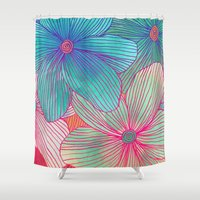 orange Shower Curtains featuring Between the Lines - tropical flowers in pink, orange, blue & mint by micklyn