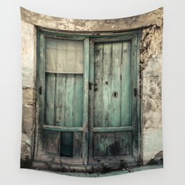 Old Green Door Wall Tapestry