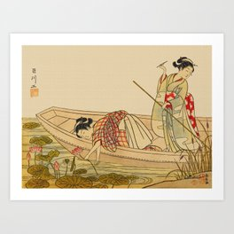 Women Gathering Lotus Blossoms Art Print