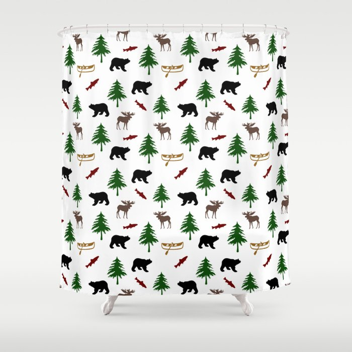 Moose Bear Shower Curtain By Christinarollo