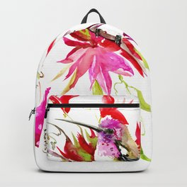 Little Hummingbird and Tropical Flowers Backpack