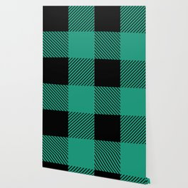 Buffalo Plaid Modern Green Wallpaper