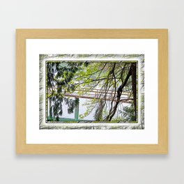 RAINY SPRING DAY AT THE DOCK IN THE WOODS Framed Art Print